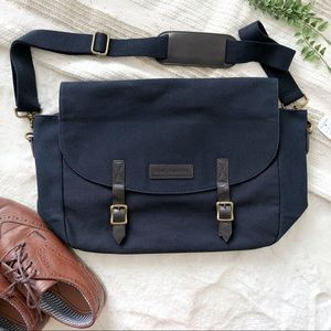 NWT Brooks Brothers Leather & Canvas Messenger Bag